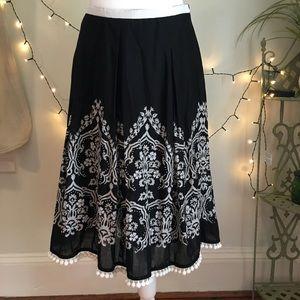 LOFT Ann Taylor Black & White Pom Pom Skirt